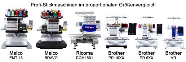 Profi-Stickmaschinen im proportionalen Größenvergleich