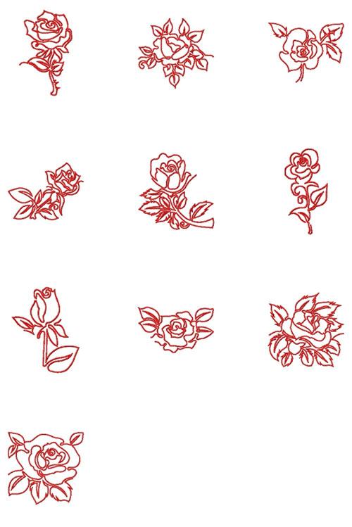 nähPark Stickmuster Roses - Stichmusterübersicht