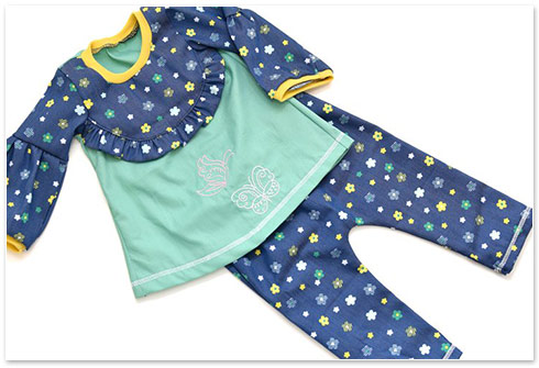 nähPark Stickmuster Spring Butterflies Schlafanzug